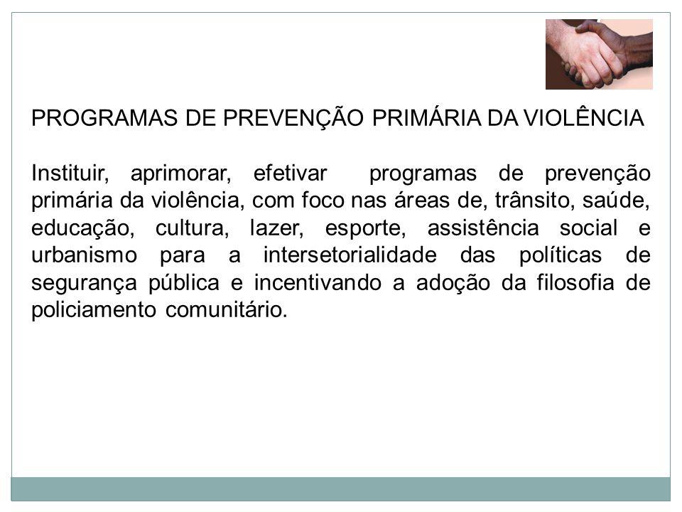 PROGRAMAS DE PREVENÇÃO PRIMÁRIA DA VIOLÊNCIA