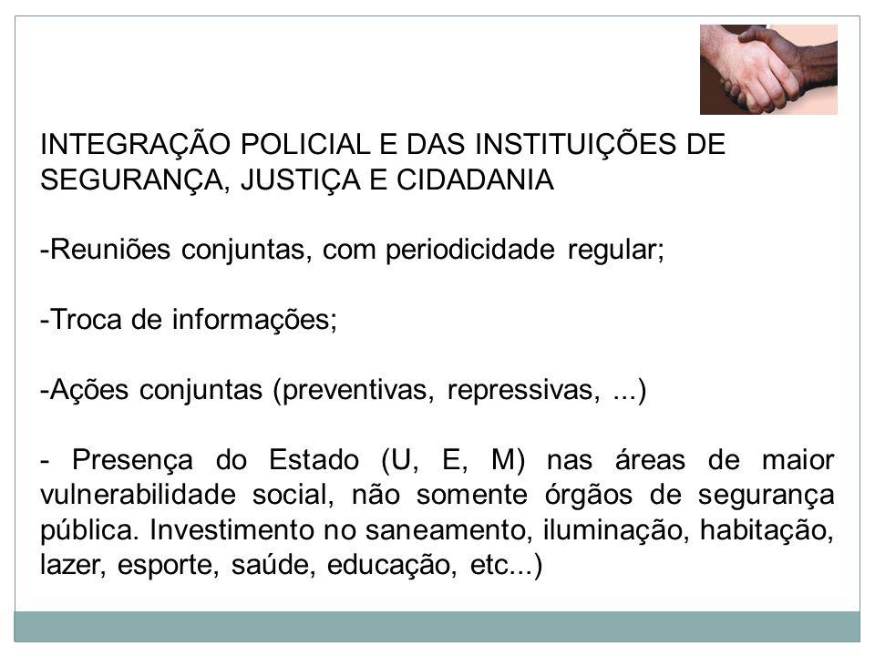 INTEGRAÇÃO POLICIAL E DAS INSTITUIÇÕES DE SEGURANÇA, JUSTIÇA E CIDADANIA