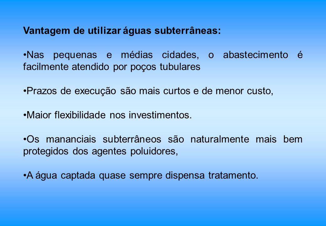 Vantagem de utilizar águas subterrâneas: