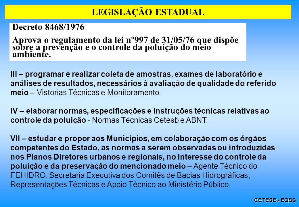 LEGISLAÇÃO ESTADUAL Decreto 8468/1976