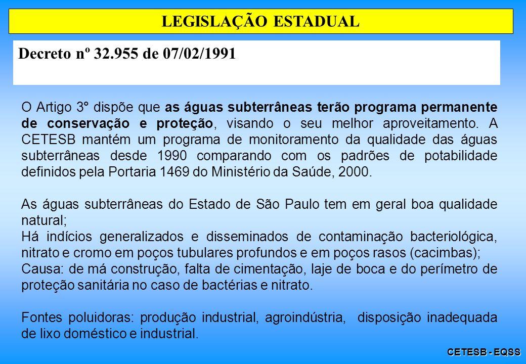 LEGISLAÇÃO ESTADUAL Decreto nº 32.955 de 07/02/1991