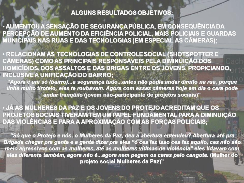 ALGUNS RESULTADOS OBJETIVOS: