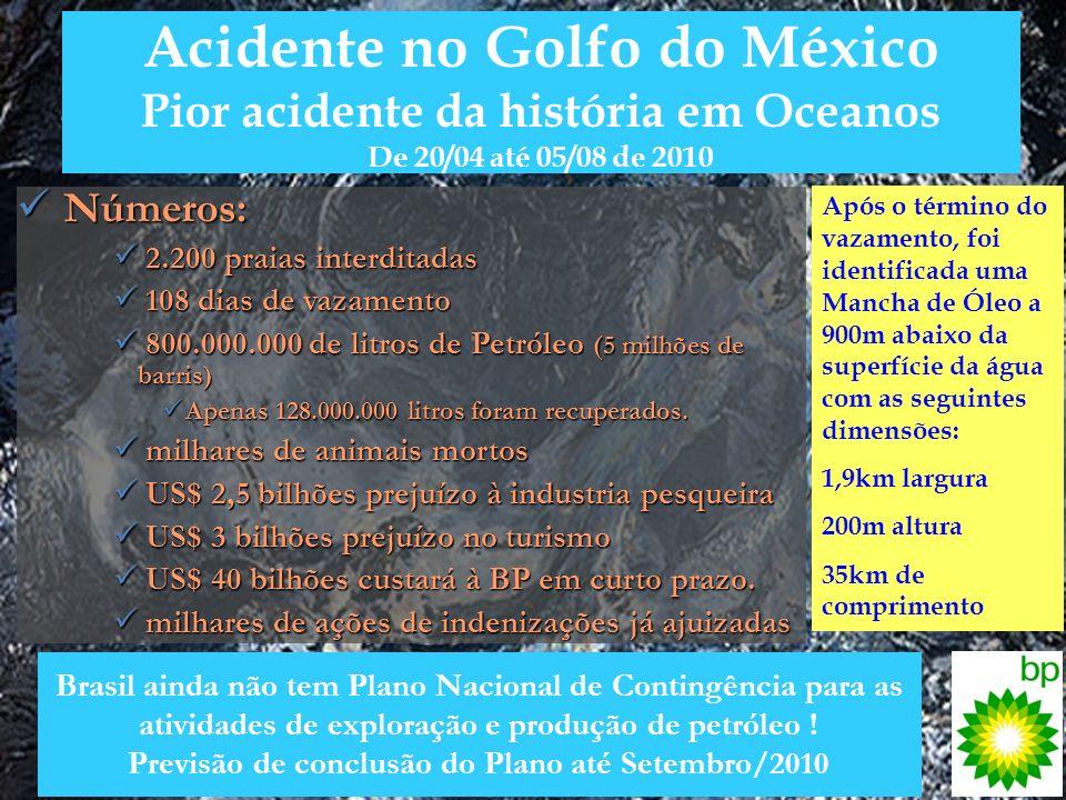 Acidente no Golfo do México Pior acidente da história em Oceanos De 20/04 até 05/08 de 2010