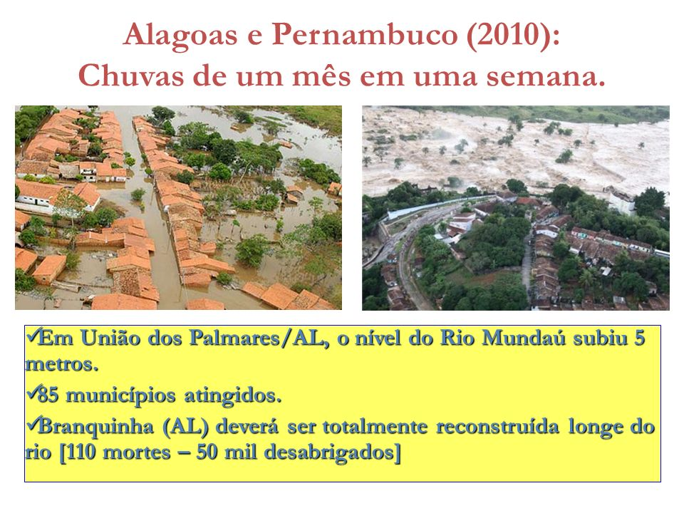 Alagoas e Pernambuco (2010): Chuvas de um mês em uma semana.