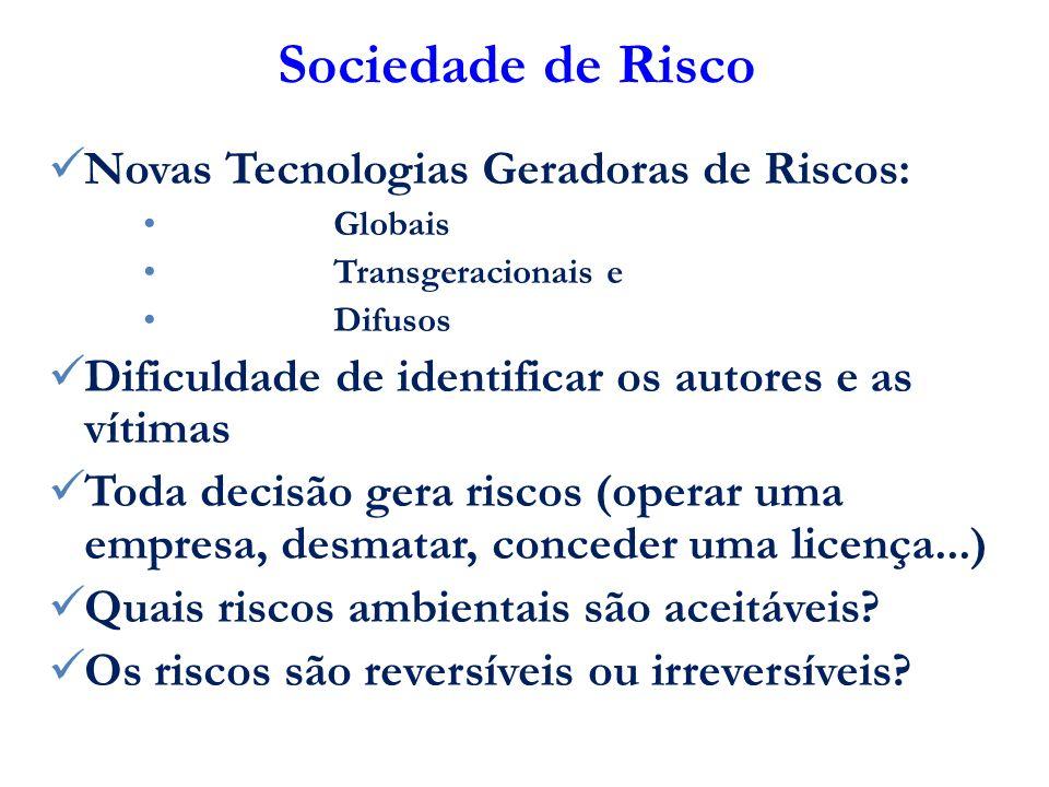 Sociedade de Risco Novas Tecnologias Geradoras de Riscos: