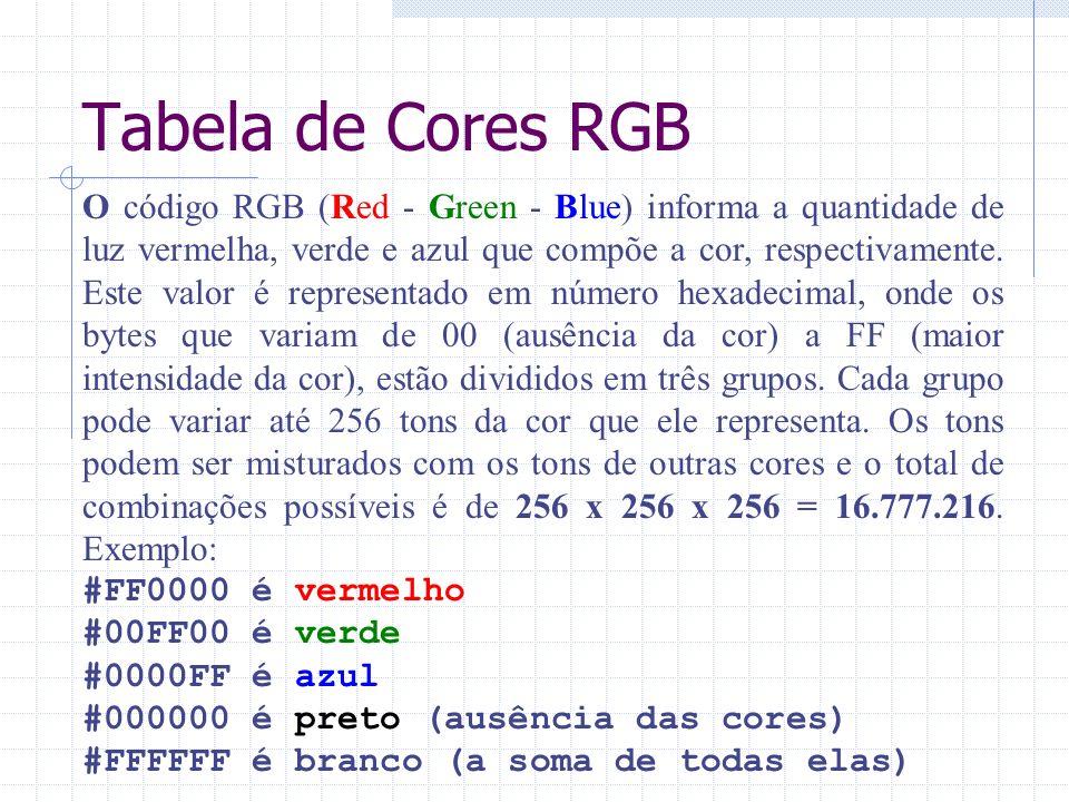 Tabela de Cores RGB