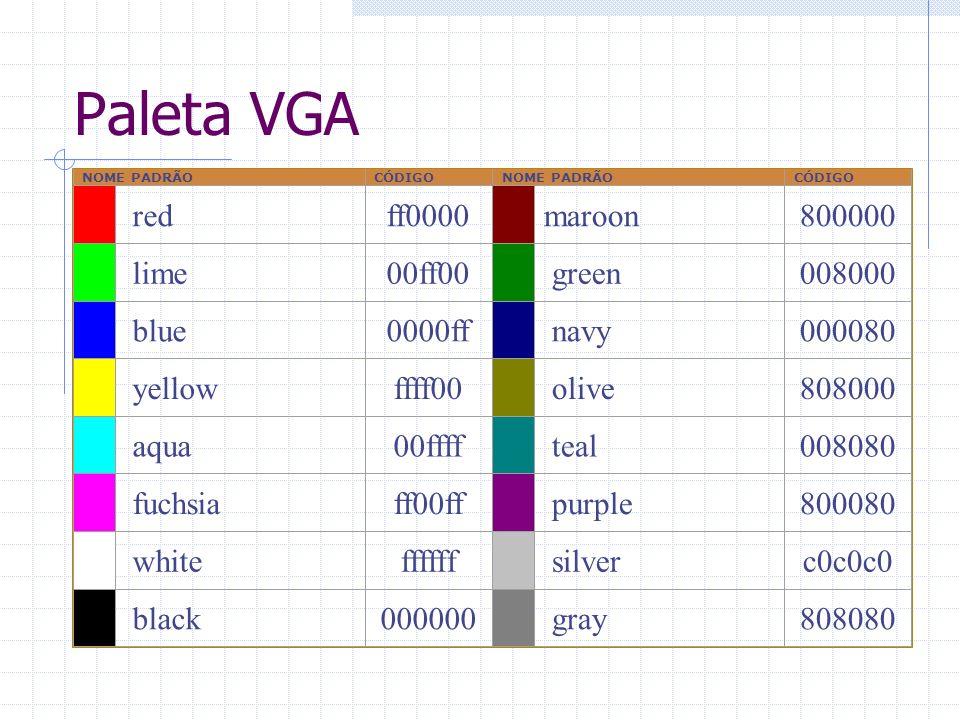 Paleta VGA red ff0000 maroon 800000 lime 00ff00 green 008000 blue