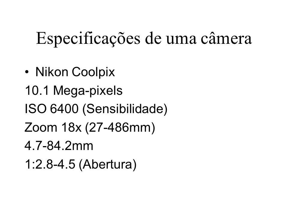 Especificações de uma câmera