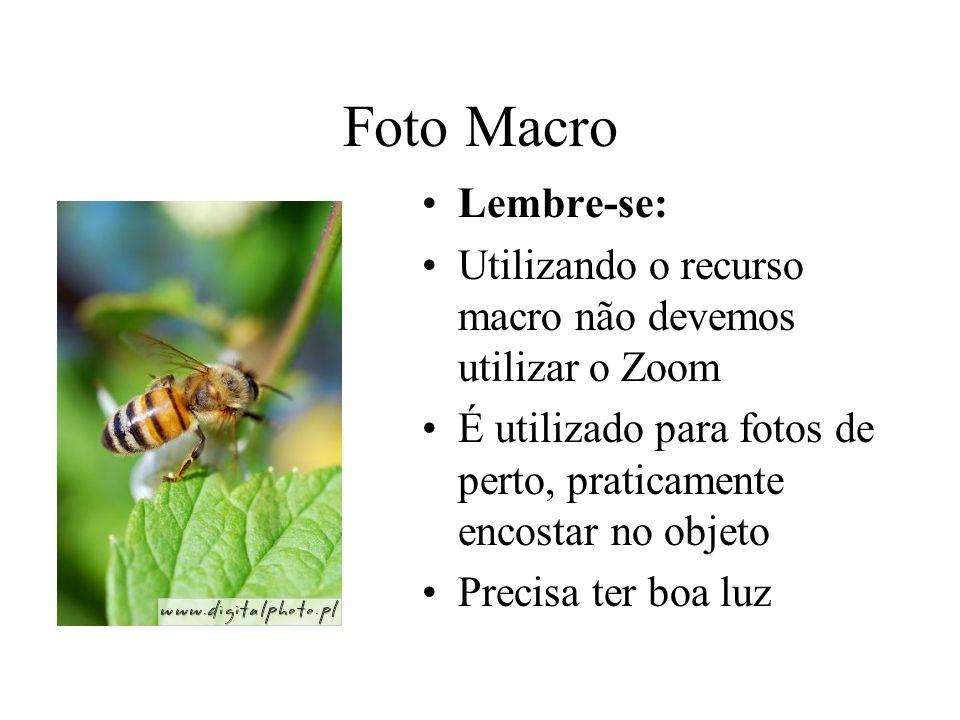 Foto Macro Lembre-se: Utilizando o recurso macro não devemos utilizar o Zoom. É utilizado para fotos de perto, praticamente encostar no objeto.