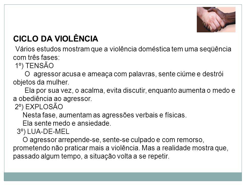 CICLO DA VIOLÊNCIA Vários estudos mostram que a violência doméstica tem uma seqüência com três fases: