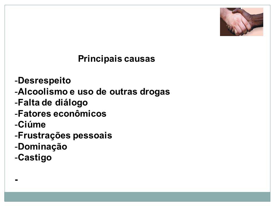 Principais causas Desrespeito. Alcoolismo e uso de outras drogas. Falta de diálogo. Fatores econômicos.