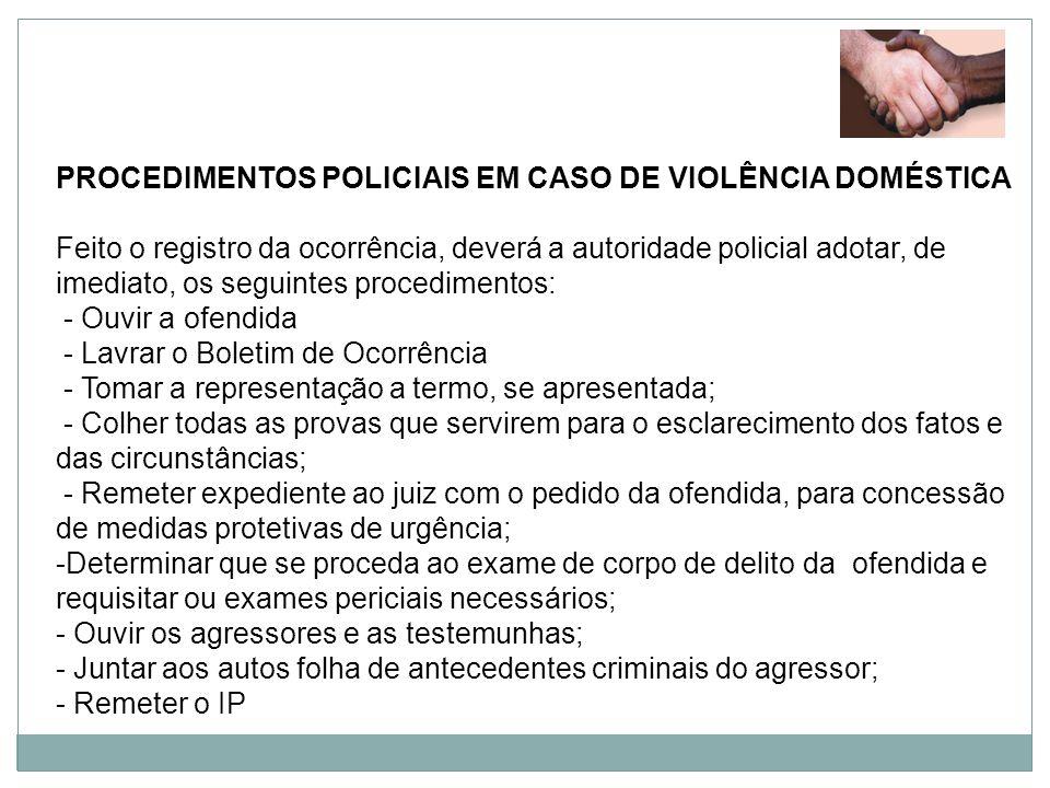 PROCEDIMENTOS POLICIAIS EM CASO DE VIOLÊNCIA DOMÉSTICA
