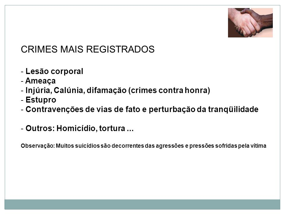 CRIMES MAIS REGISTRADOS