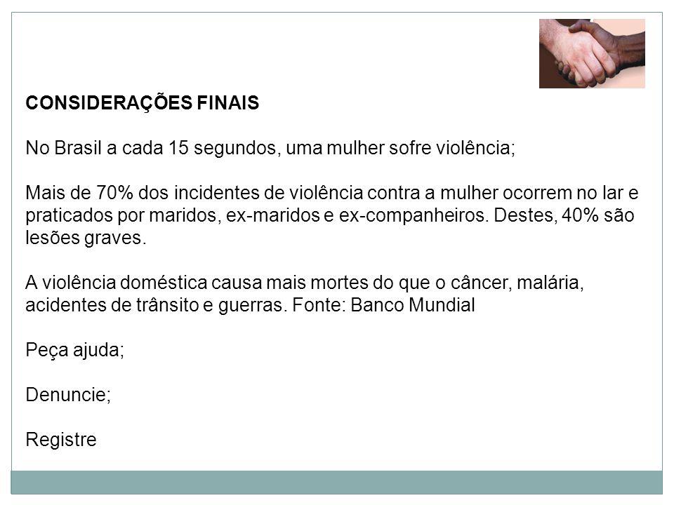 CONSIDERAÇÕES FINAIS No Brasil a cada 15 segundos, uma mulher sofre violência;