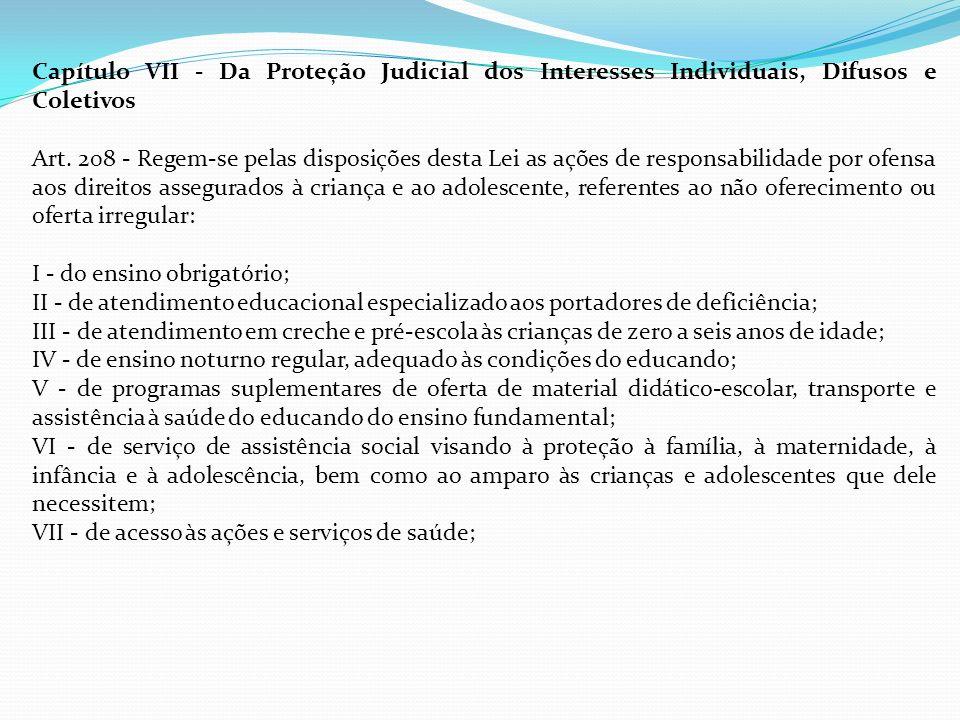 Capítulo VII - Da Proteção Judicial dos Interesses Individuais, Difusos e Coletivos