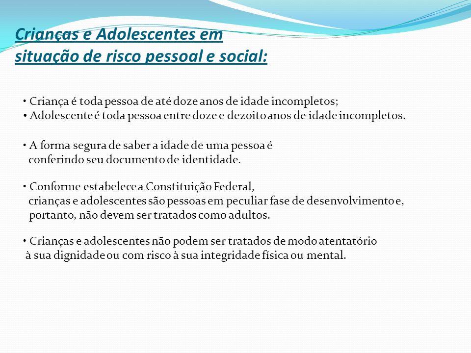 Crianças e Adolescentes em situação de risco pessoal e social: