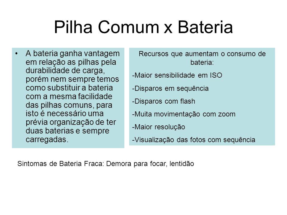 Recursos que aumentam o consumo de bateria: