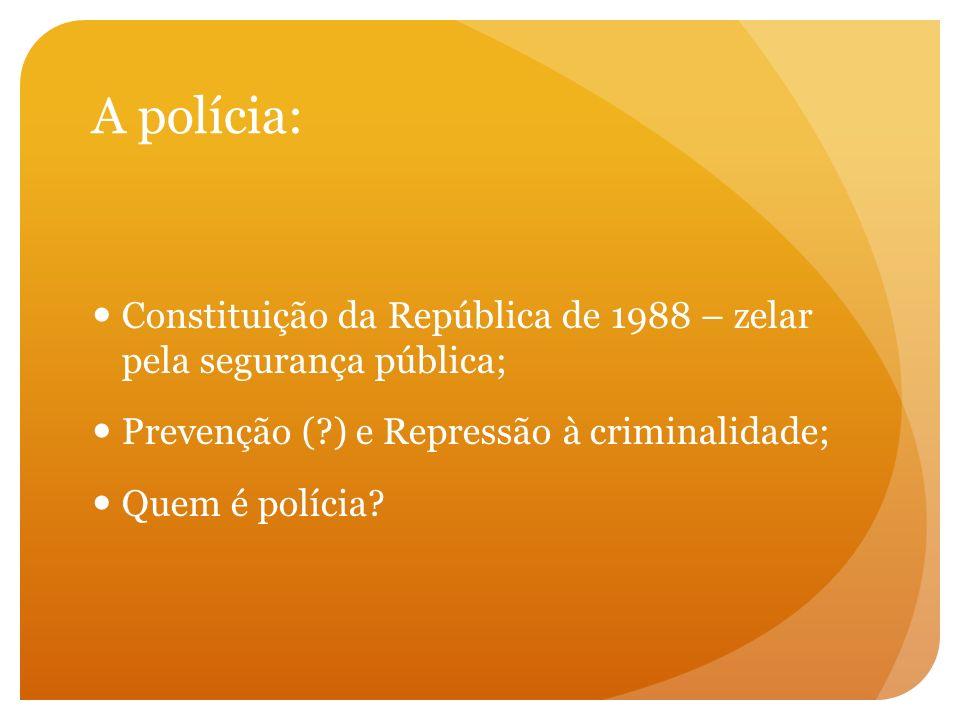A polícia: Constituição da República de 1988 – zelar pela segurança pública; Prevenção ( ) e Repressão à criminalidade;