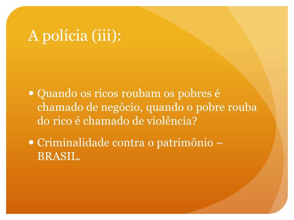 A polícia (iii): Quando os ricos roubam os pobres é chamado de negócio, quando o pobre rouba do rico é chamado de violência