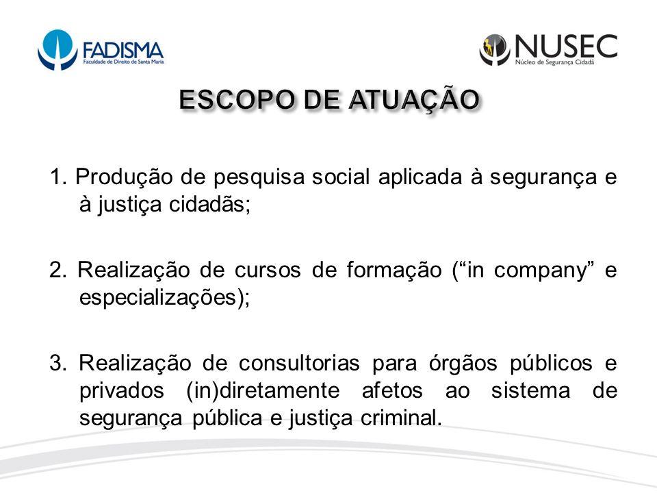 ESCOPO DE ATUAÇÃO 1. Produção de pesquisa social aplicada à segurança e à justiça cidadãs;