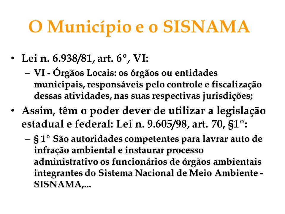 O Município e o SISNAMA Lei n. 6.938/81, art. 6º, VI: