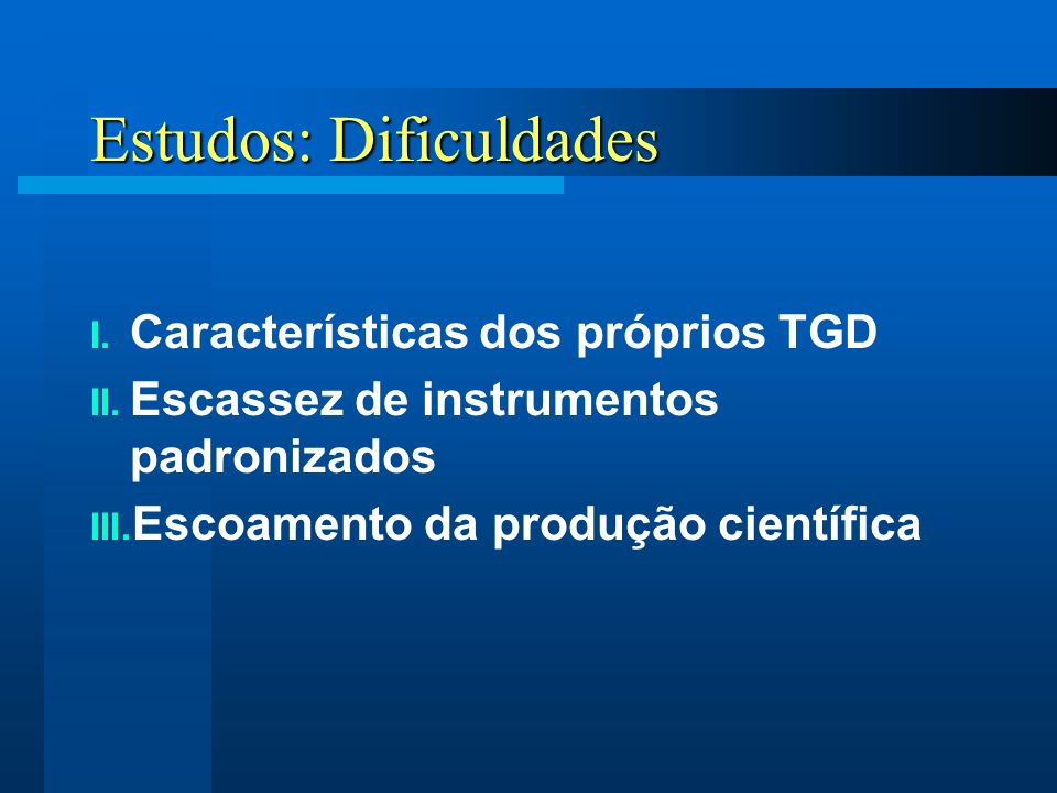 Estudos: Dificuldades