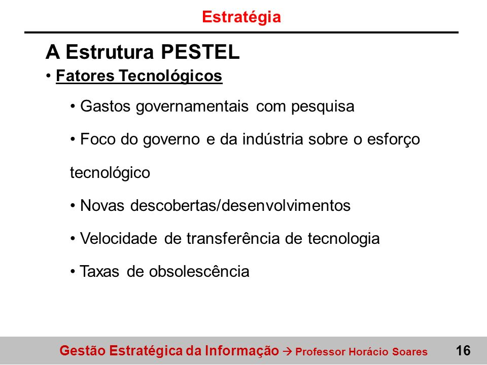 A Estrutura PESTEL Estratégia Fatores Tecnológicos