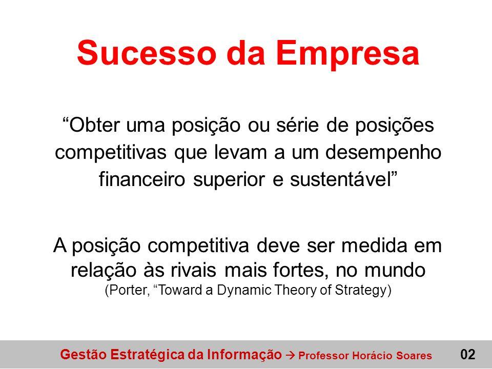 Sucesso da Empresa Obter uma posição ou série de posições competitivas que levam a um desempenho financeiro superior e sustentável