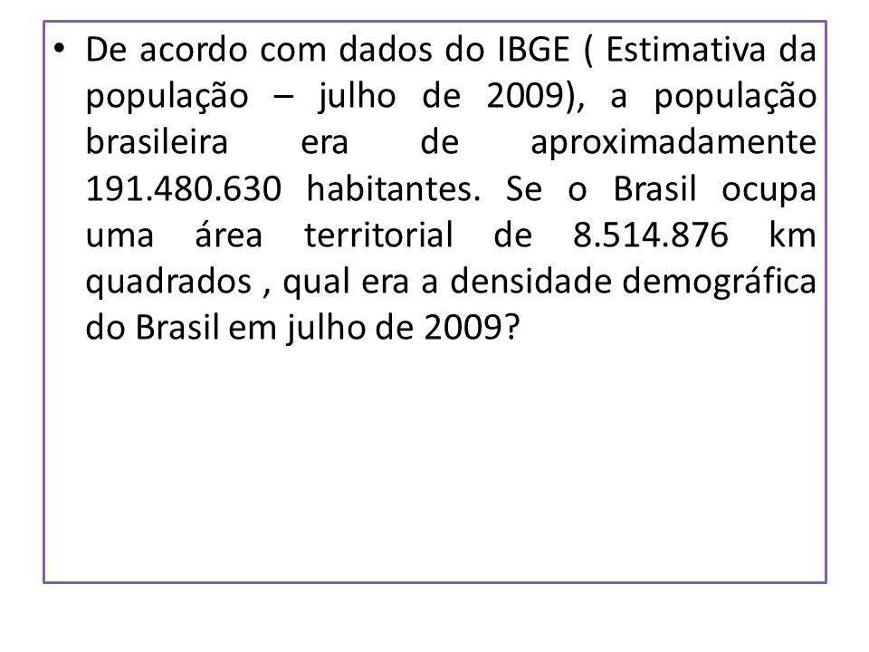 De acordo com dados do IBGE ( Estimativa da população – julho de 2009), a população brasileira era de aproximadamente 191.480.630 habitantes.