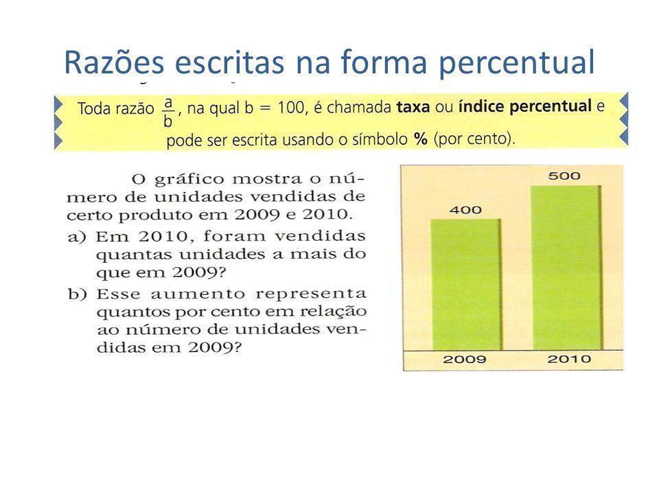 Razões escritas na forma percentual