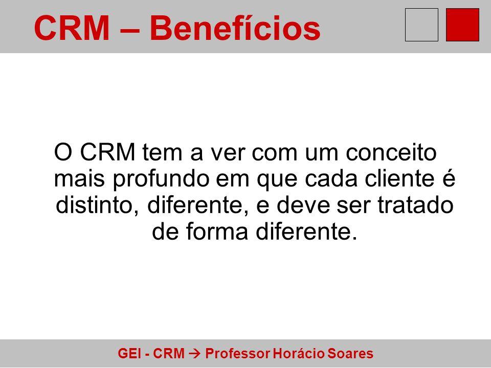 CRM – Benefícios O CRM tem a ver com um conceito mais profundo em que cada cliente é distinto, diferente, e deve ser tratado de forma diferente.