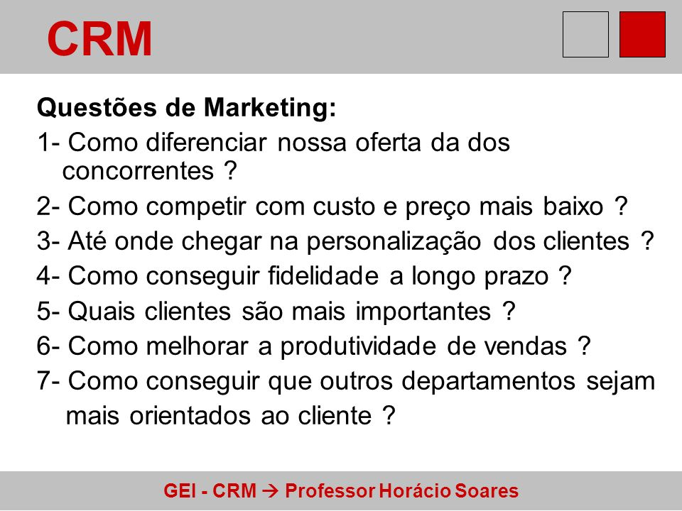 CRM Questões de Marketing: