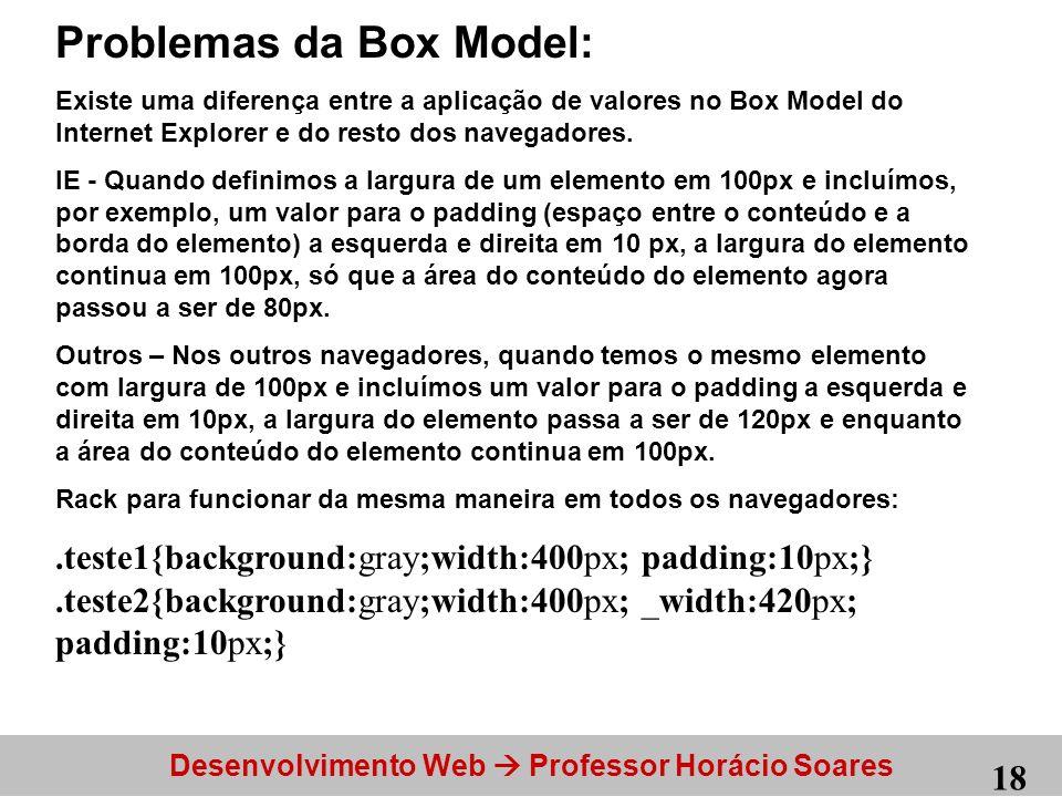 Problemas da Box Model: