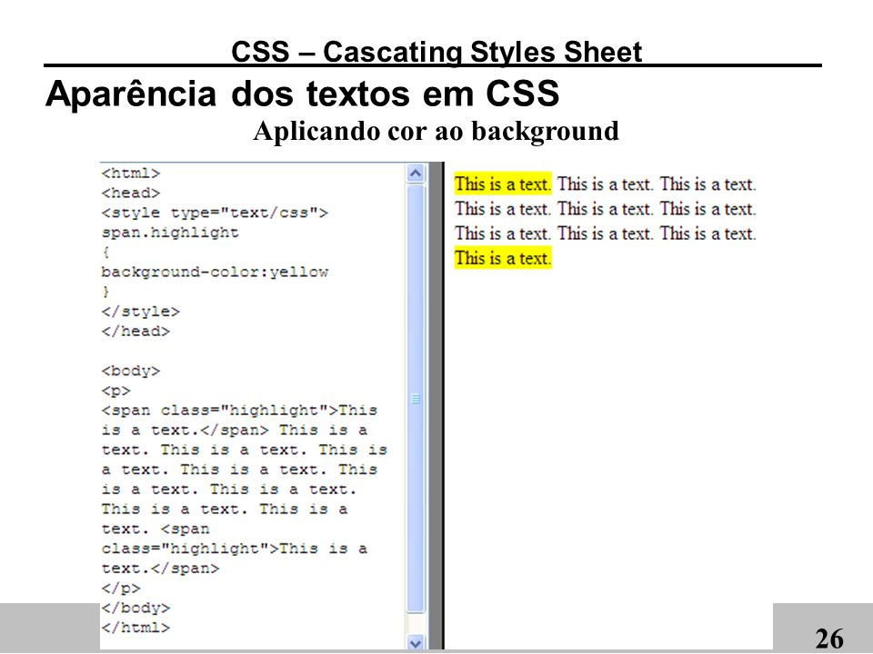 CSS – Cascating Styles Sheet Aplicando cor ao background
