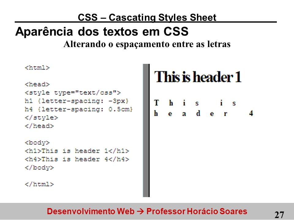 CSS – Cascating Styles Sheet Alterando o espaçamento entre as letras