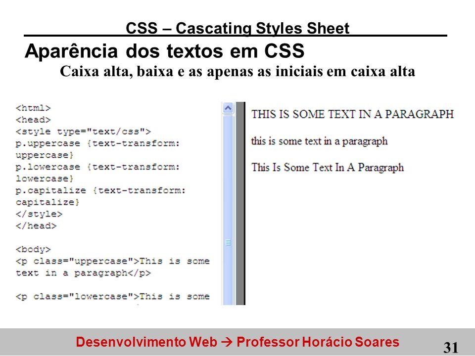 Aparência dos textos em CSS