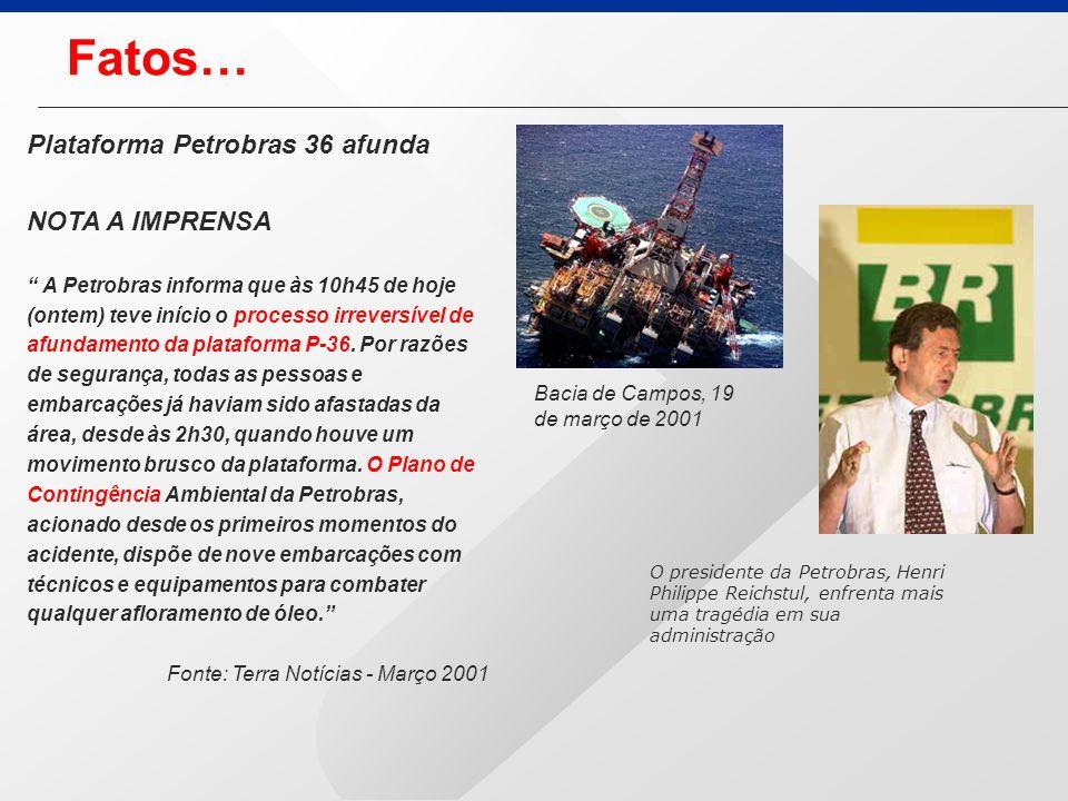 Fatos… Plataforma Petrobras 36 afunda NOTA A IMPRENSA