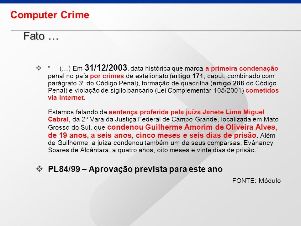 Fato … Computer Crime PL84/99 – Aprovação prevista para este ano