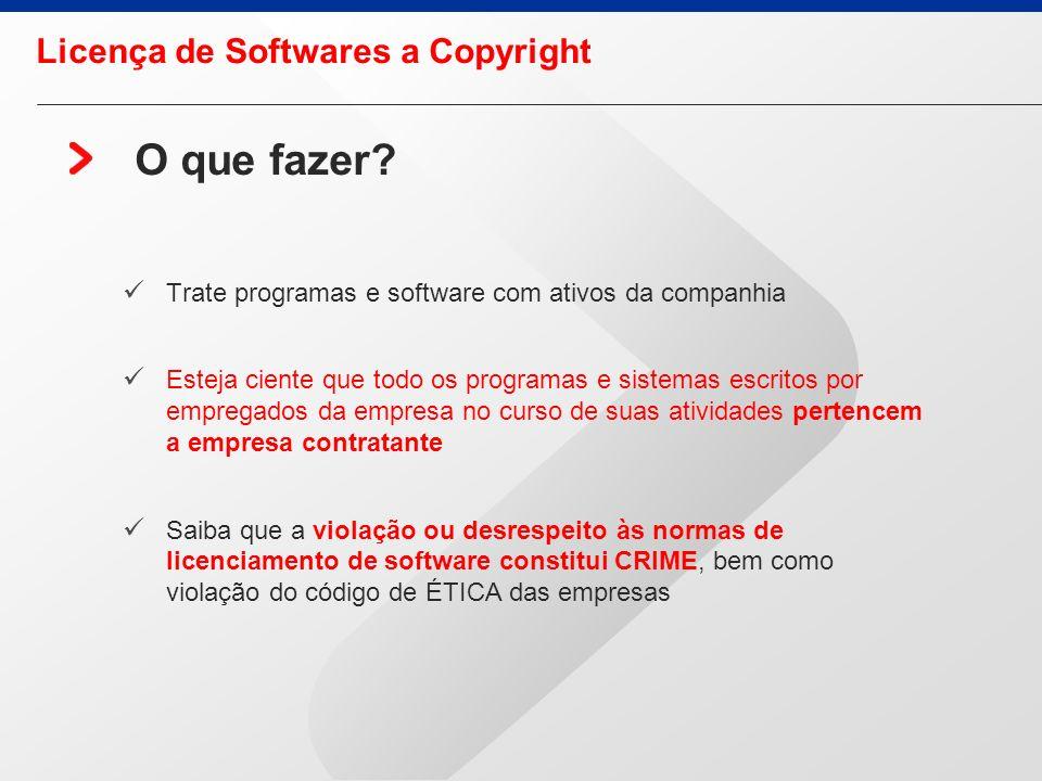 O que fazer Licença de Softwares a Copyright