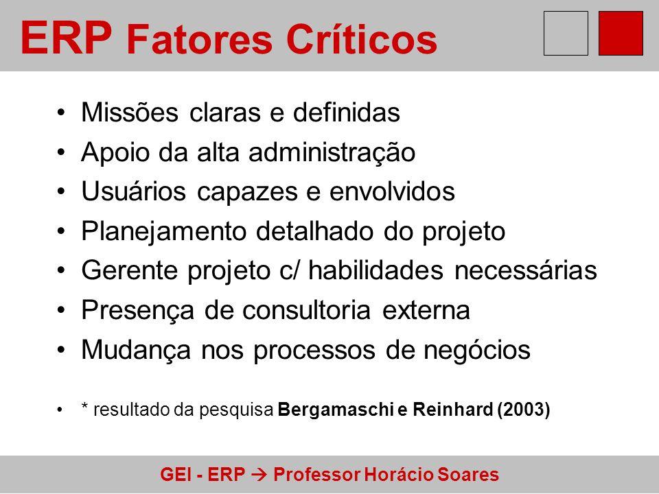ERP Fatores Críticos Missões claras e definidas