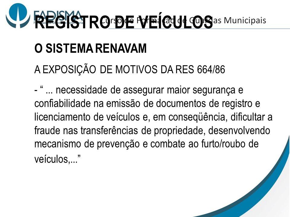 REGISTRO DE VEÍCULOS O SISTEMA RENAVAM