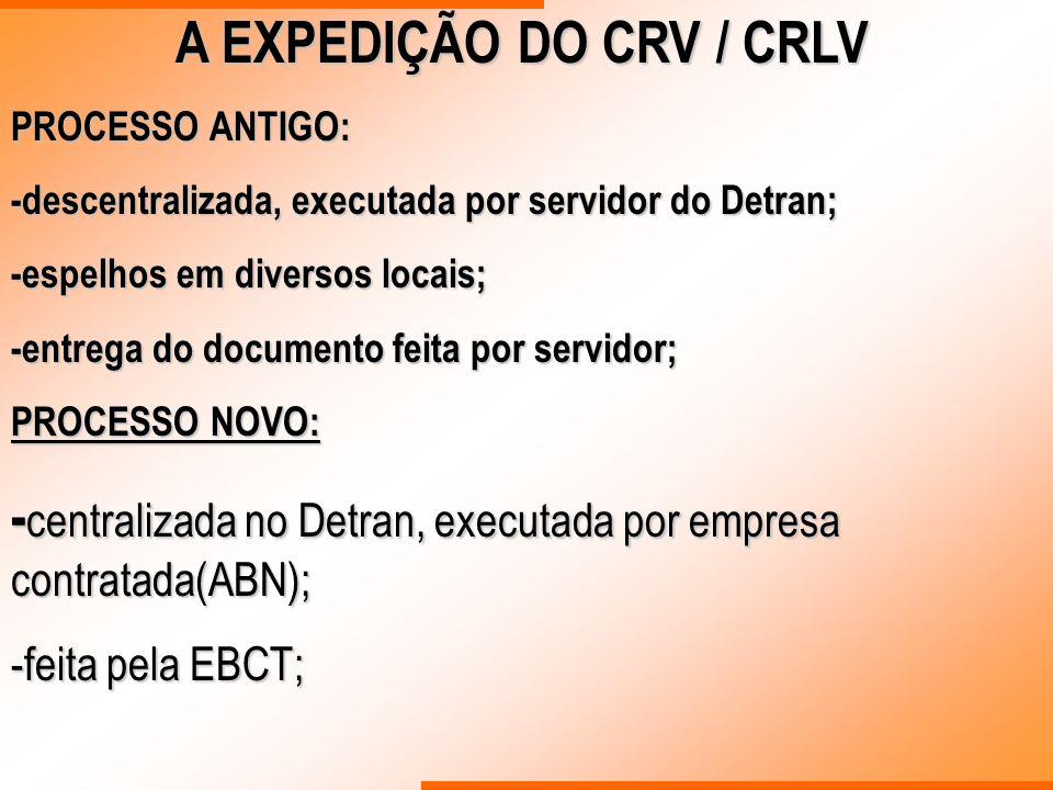 A EXPEDIÇÃO DO CRV / CRLV