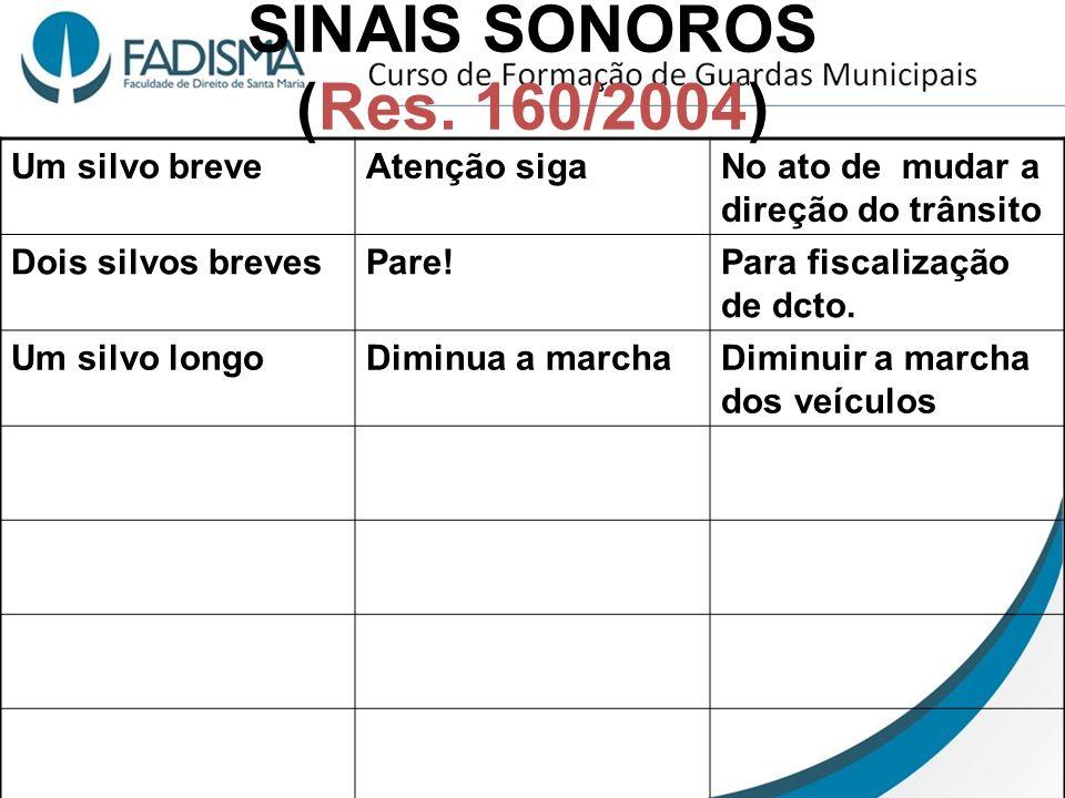SINAIS SONOROS (Res. 160/2004) Um silvo breve Atenção siga