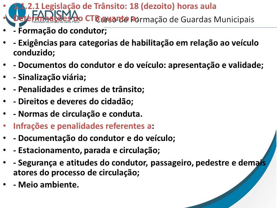 1.1.2.1 Legislação de Trânsito: 18 (dezoito) horas aula