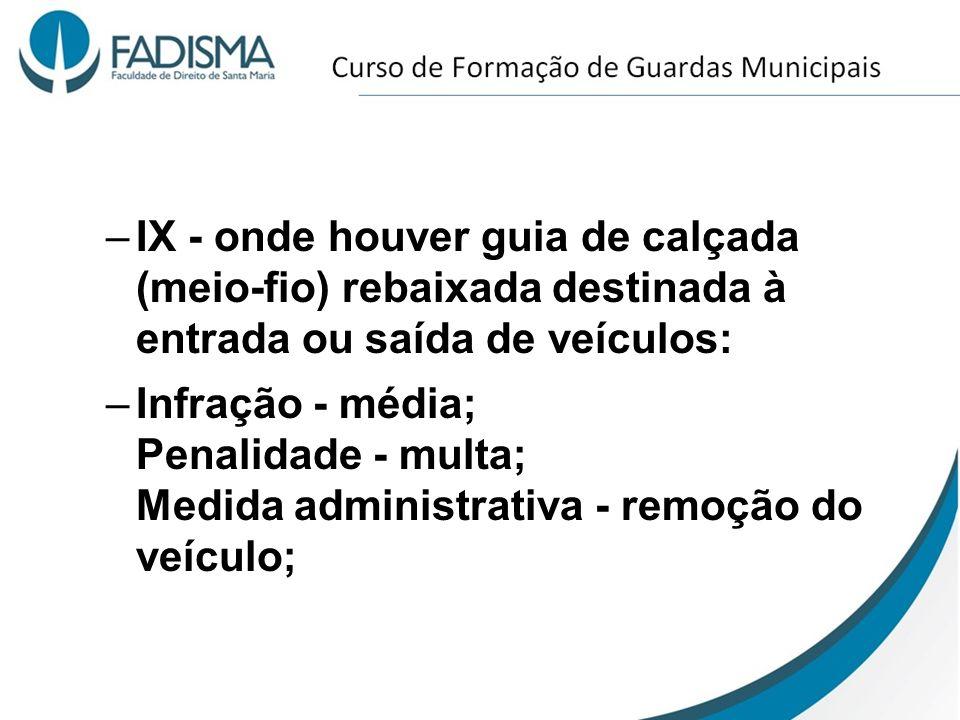 IX - onde houver guia de calçada (meio-fio) rebaixada destinada à entrada ou saída de veículos: