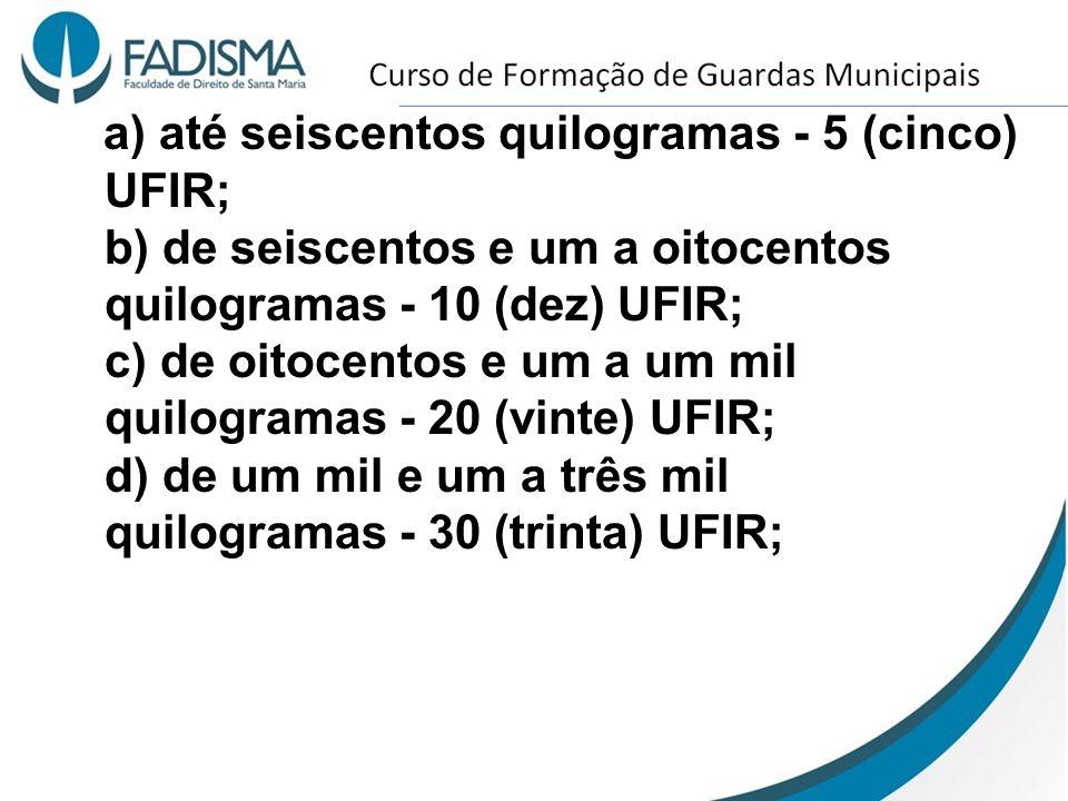 a) até seiscentos quilogramas - 5 (cinco) UFIR; b) de seiscentos e um a oitocentos quilogramas - 10 (dez) UFIR; c) de oitocentos e um a um mil quilogramas - 20 (vinte) UFIR; d) de um mil e um a três mil quilogramas - 30 (trinta) UFIR;