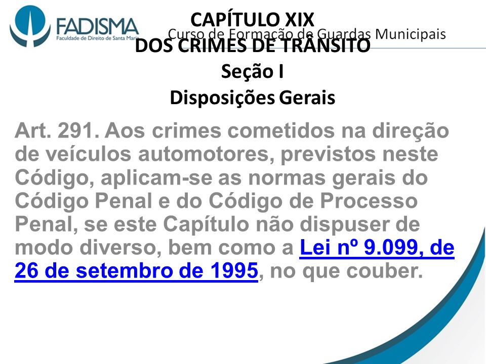 CAPÍTULO XIX DOS CRIMES DE TRÂNSITO Seção I Disposições Gerais