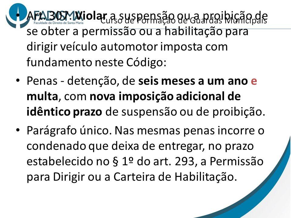 Art. 307. Violar a suspensão ou a proibição de se obter a permissão ou a habilitação para dirigir veículo automotor imposta com fundamento neste Código: