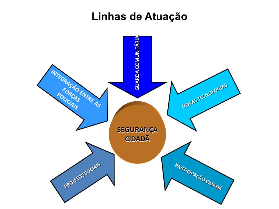 Linhas de Atuação SEGURANÇA CIDADÃ INTEGRAÇÃO ENTRE AS FORÇAS