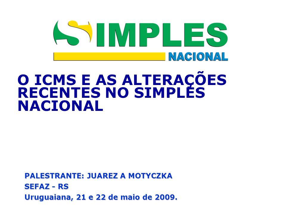 O ICMS E AS ALTERAÇÕES RECENTES NO SIMPLES NACIONAL